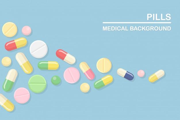 Set di pillole, medicine, farmaci. tablet antidolorifico, vitamina, antibiotici farmaceutici. background medico. cartone animato Vettore Premium