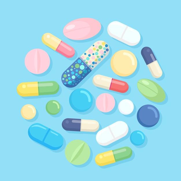 Set di pillole, medicine, farmaci. tablet antidolorifico, vitamina, antibiotici farmaceutici. background medico. Vettore Premium