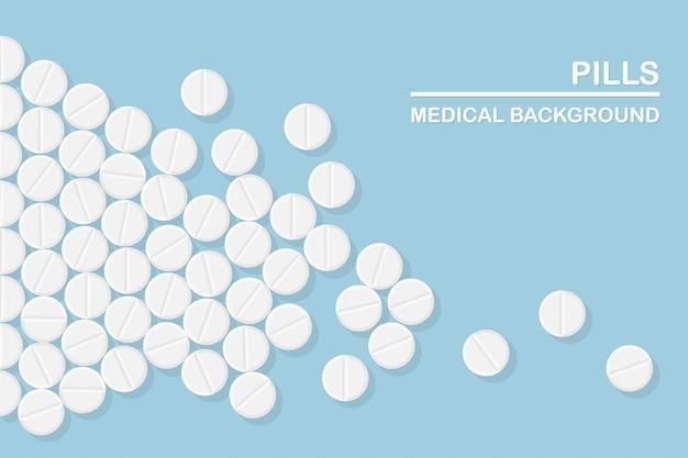 Set di pillole, medicine, farmaci. tablet antidolorifico, vitamina, antibiotici farmaceutici. Vettore Premium