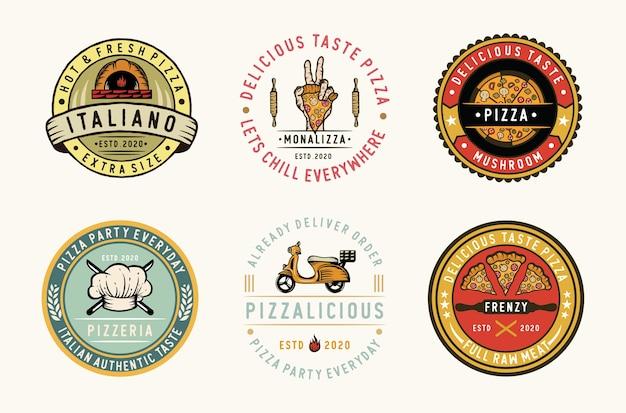 Set di etichette per pizza, distintivi ed elemento di design Vettore Premium