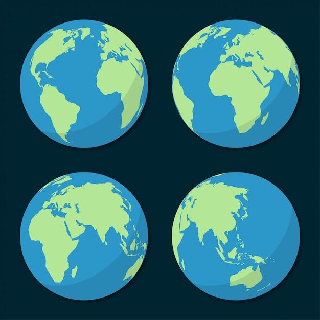 Set di icone del pianeta terra in un design piatto Vettore Premium