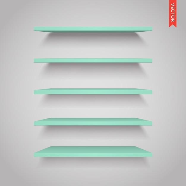 Set di ripiani in plastica isolato sullo sfondo della parete Vettore Premium