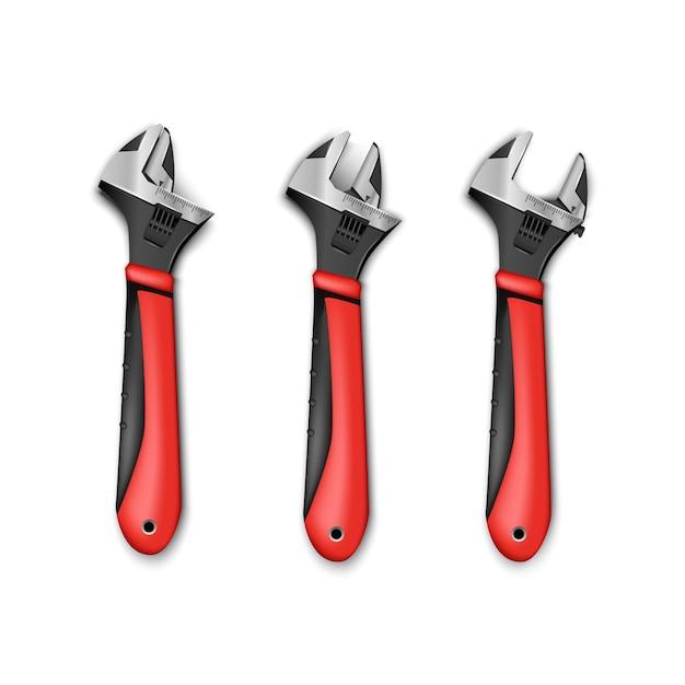 Set di chiavi regolabili per strumenti idraulici con manici rossi. isolato su sfondo bianco. Vettore Premium