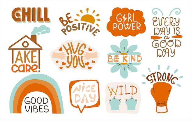 Set di adesivi positivi con iscrizioni. modello di iscrizione decorato con l'immagine del fumetto. Vettore Premium