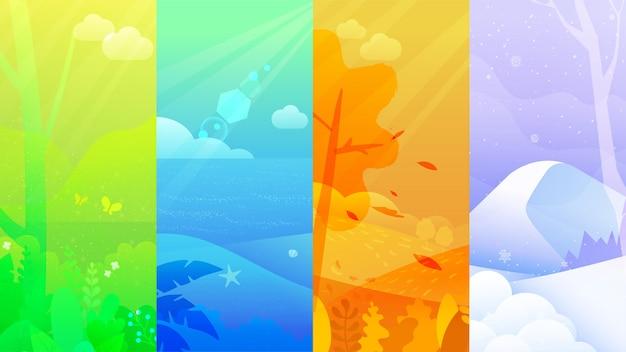 Set di poster per inverno, primavera, estate e autunno. Vettore Premium