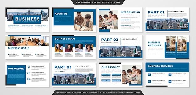 Set di modello di diapositiva powerpoint Vettore Premium