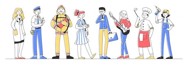 Set di illustrazione di personaggi professionali Vettore Premium