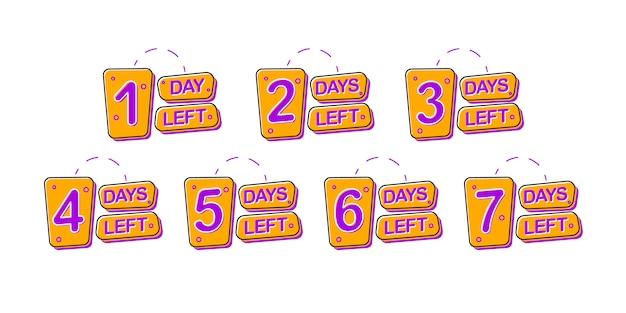 Set di badge promozionali con 1, 2, 3, 4, 5, 6, 7 giorni rimanenti. Vettore Premium