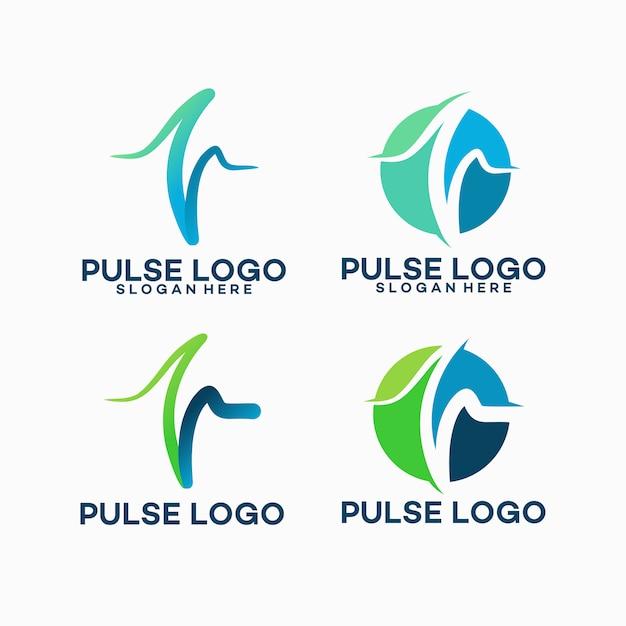 Set di modello logo pulse Vettore Premium