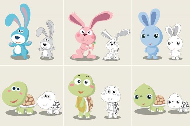 Set di cartoon tartaruga coniglio Vettore Premium