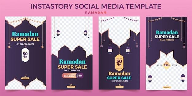 Impostare il modello di social media instastory ramadhan ed eid vendita, banner pubblicitario. Vettore Premium
