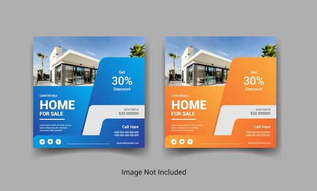 Set di progettazione di post di social media instagram di vendita immobiliare o casa Vettore Premium