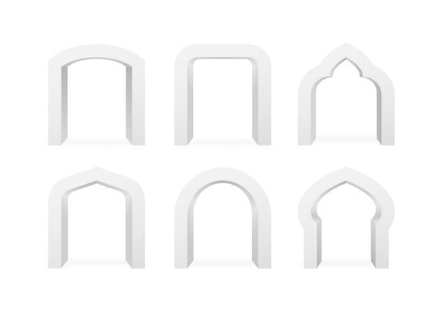 Set di archi realistici di diverse forme di illustrazione Vettore Premium