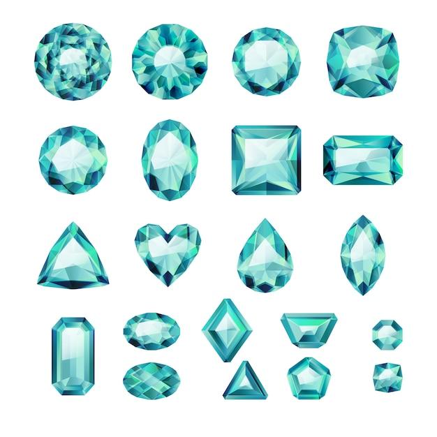 Set di gioielli verdi realistici. pietre preziose colorate. smeraldi su sfondo bianco. Vettore Premium