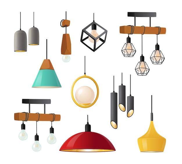 Set di realistiche lampade a sospensione con eleganti bizzarri paralumi isolati Vettore Premium