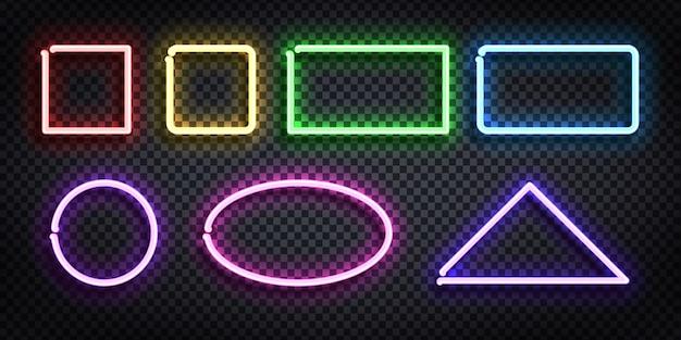 Set di segno al neon realistico del telaio con forma e colore diversi per modello e layout sullo sfondo trasparente. Vettore Premium