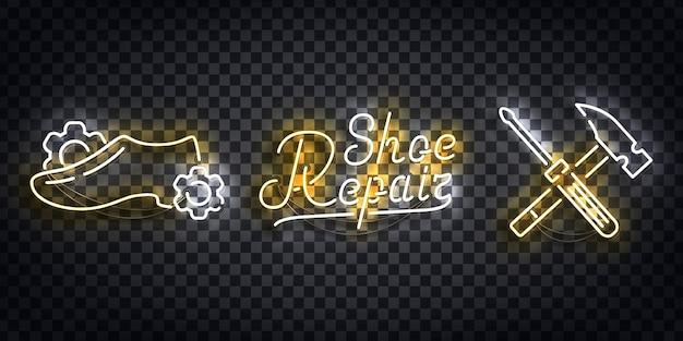 Set di realistico segno al neon del logo di riparazione di scarpe per la decorazione del modello e la copertura del layout sullo sfondo trasparente. Vettore Premium
