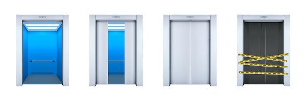 Set di ascensori ufficio realistico isolato su bianco Vettore Premium