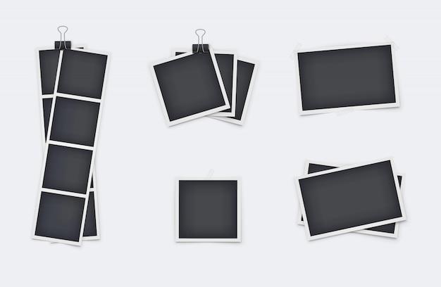 Set di cornici per foto realistiche isolato Vettore Premium