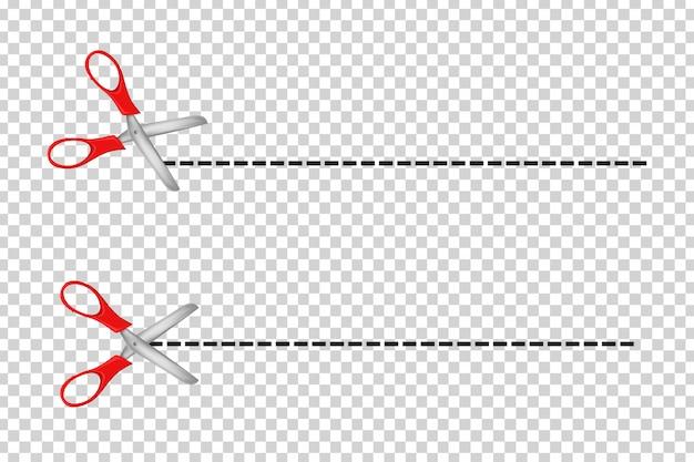 Set di forbici realistiche linee di taglio per la decorazione del modello sullo sfondo trasparente. Vettore Premium