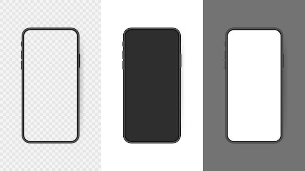 Impostare lo schermo vuoto realistico dello smartphone, telefono isolato su sfondo trasparente. modello per interfaccia utente infografica o presentazione. Vettore Premium