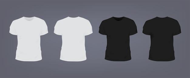 Set di realistica t-shirt slim fit unisex bianca e nera con scollo rotondo. vista anteriore e posteriore. Vettore Premium