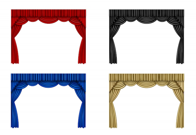 Set di tende rosse, nere, blu e oro Vettore Premium