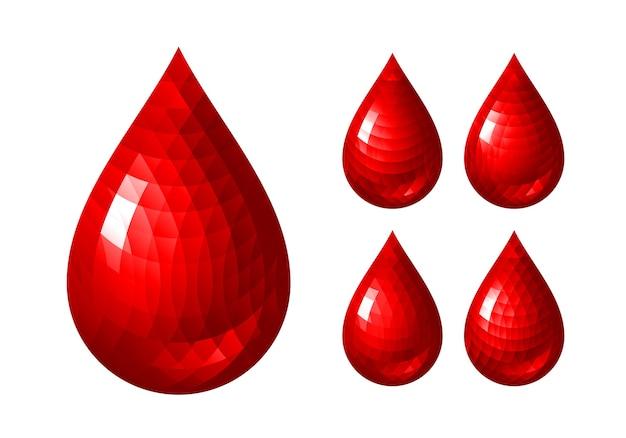 Set di icone di goccia di sangue rosso. rgb. colori globali. un gradiente utilizzato Vettore Premium