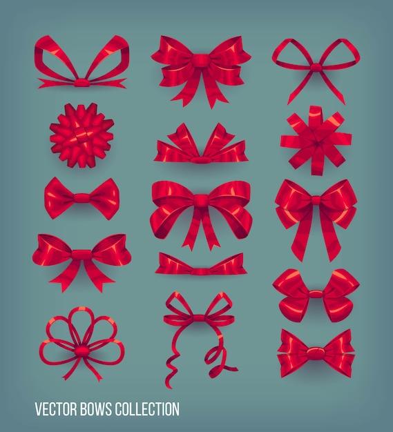 Insieme dei nodi rossi dell'arco di stile del fumetto e nastri legati. collezione di elementi decorativi Vettore Premium