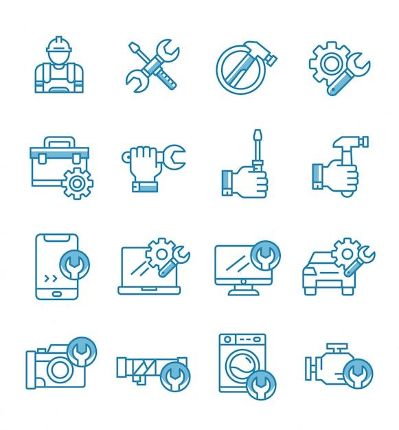 Set di icone di riparazione con stile di contorno. Vettore Premium