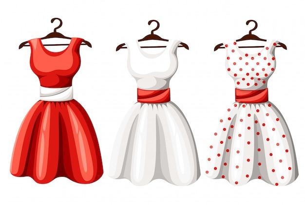 Set di abiti da donna carino pinup retrò. collezione di abiti da donna a pois di colore nero, rosso e bianco elegante e lungo. illustrazione di immagine artistica, sullo sfondo Vettore Premium