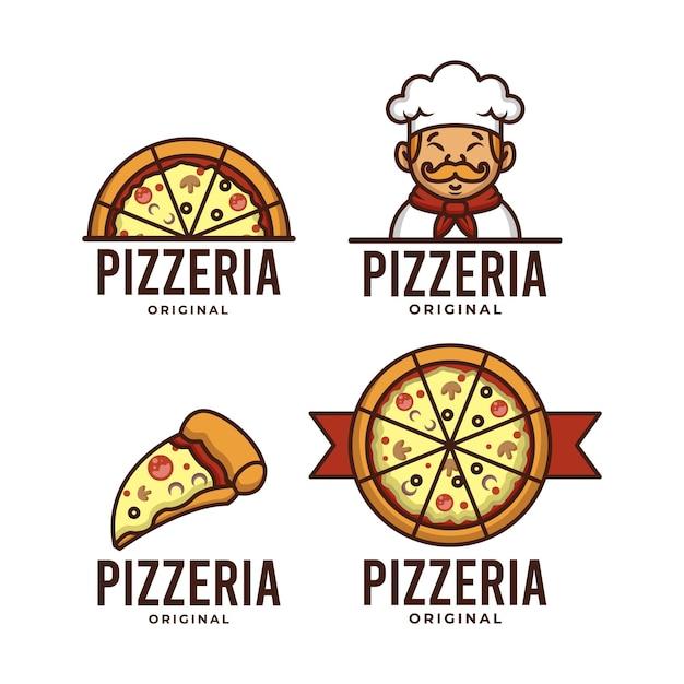 Set di modello di logo pizzaria retrò Vettore Premium