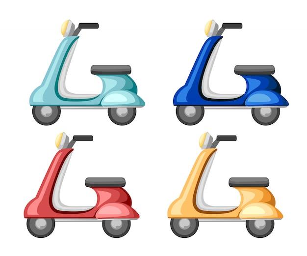 Set di scooter retrò. icona. vecchia illustrazione di trasporto. illustrazione su sfondo bianco Vettore Premium