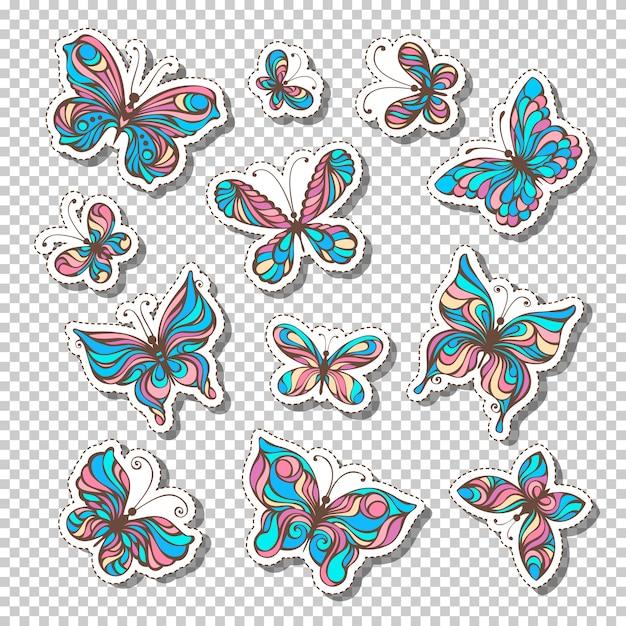 Set di etichette adesive retrò con farfalle. adesivi colorati luminosi o etichette adesive su sfondo trasparente. stile anni '80 -'90. Vettore Premium
