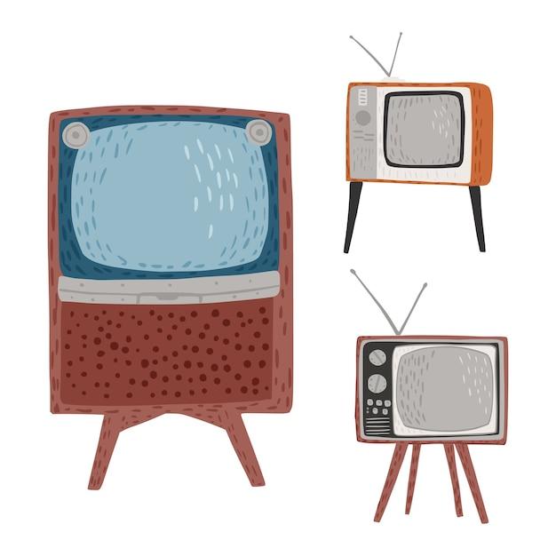 Impostare televisori retrò su sfondo bianco. televisori vintage alti, corti e larghi con antenna disegnata a mano in stile doodle Vettore Premium