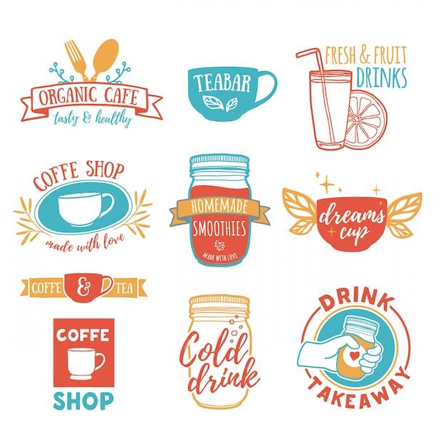 Impostare loghi vintage retrò per caffetteria, tea bar. logo con succo di frutta, frullati e una tazza di tè Vettore Premium
