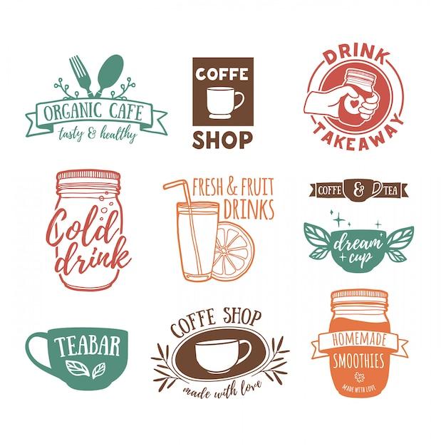 Impostare loghi vintage retrò per caffetteria Vettore Premium