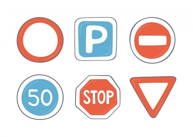 Insieme di segnali stradali. simboli del traffico Vettore Premium