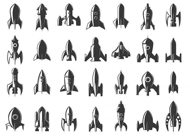 Set di icone di razzi su sfondo bianco. avviare. elemento per, etichetta, emblema, segno. illustrazione. Vettore Premium