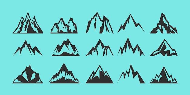 Set di logo di sagome di rocce e montagne. Vettore Premium