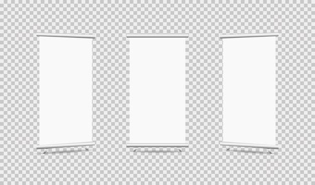 Set di roll up su sfondo trasparente Vettore Premium