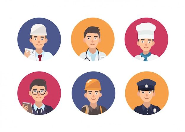Serie di ritratti rotondi di persone felici di varie professioni. Vettore Premium