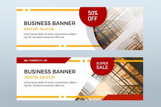 Set di banner in vendita con foto Vettore Premium