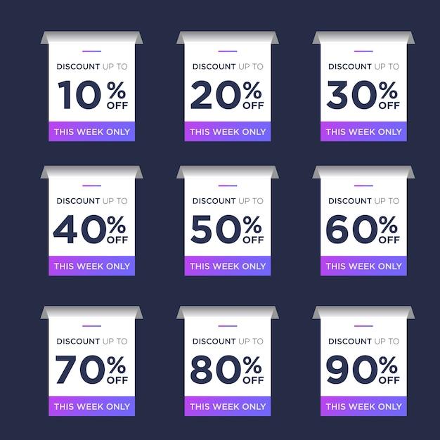 Imposta il pacchetto sconto tag di vendita Vettore Premium