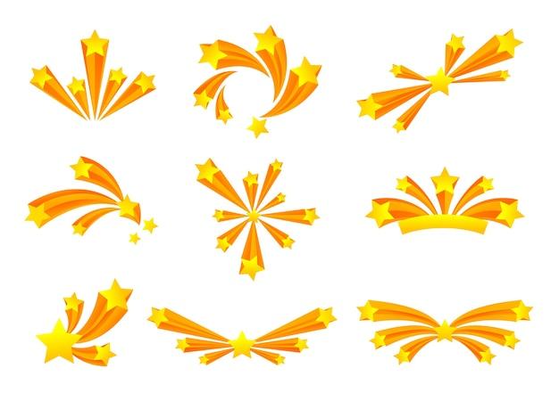Set di saluto di varie forme con stelle dorate. illustrazione su sfondo bianco. Vettore Premium
