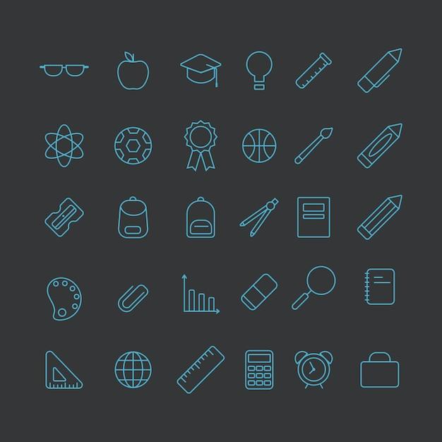 Set di icone di attrezzature di scuola Vettore Premium