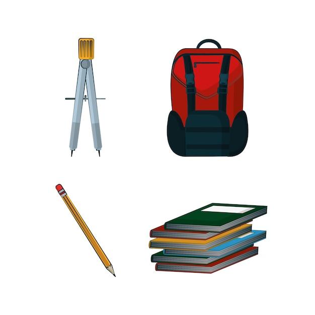Insieme di progettazione grafica dell'illustrazione di vettore della raccolta dei rifornimenti di scuola Vettore Premium
