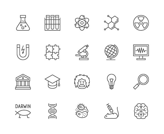 Set di icone di linea di scienza. school globe, professor, evolution, dna e altro ancora. Vettore Premium