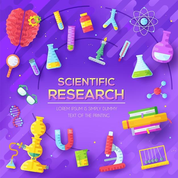 Insieme di elementi di ricerca scientifica su sfondo astratto viola. Vettore Premium
