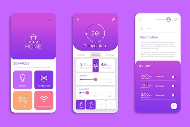 Set di schermi per app smart home Vettore Premium